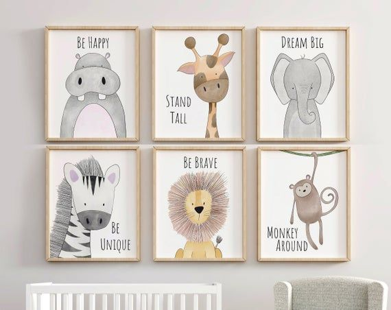 Safari Nursery Decor Set Animal Nursery Prints Quote Nursery Print Peekaboo Nursery Safari Print Set Safari Nursery Neutral Nursery Nursery Prints Safari Nursery Animal Nursery