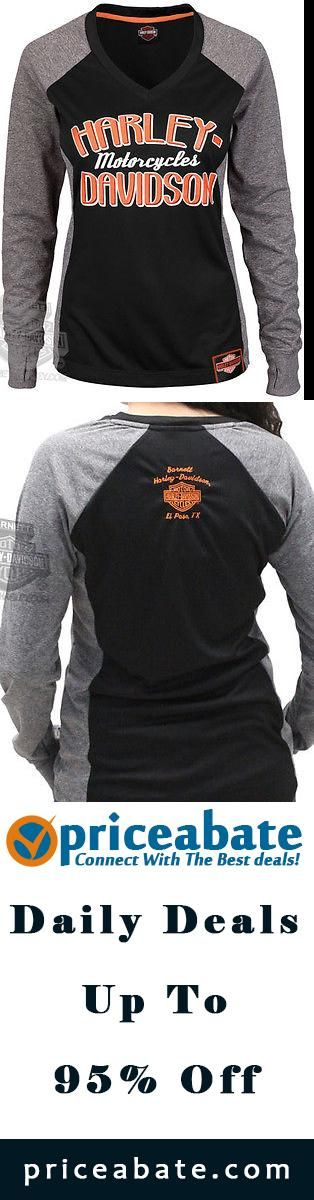 #Priceabate Harley-Davidson Womens Raglan Synthetic V-neck Black Long Sleeve T-Shirt - Buy This Item Now For Only: $29.99