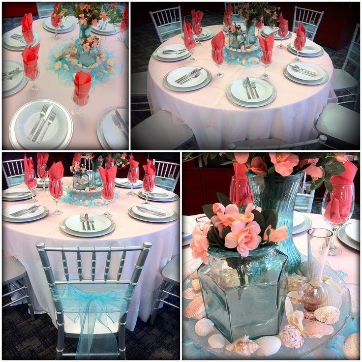 Coral and malibu blue beach themed wedding table