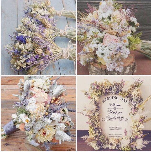 お花のイメージ。生花も好きなのですが、このようなドライフラワーを散りばめたいです。予算的に厳しくなりそうならメインテーブルだけにでも⸜(๑⃙⃘'ω'๑⃙⃘)⸝