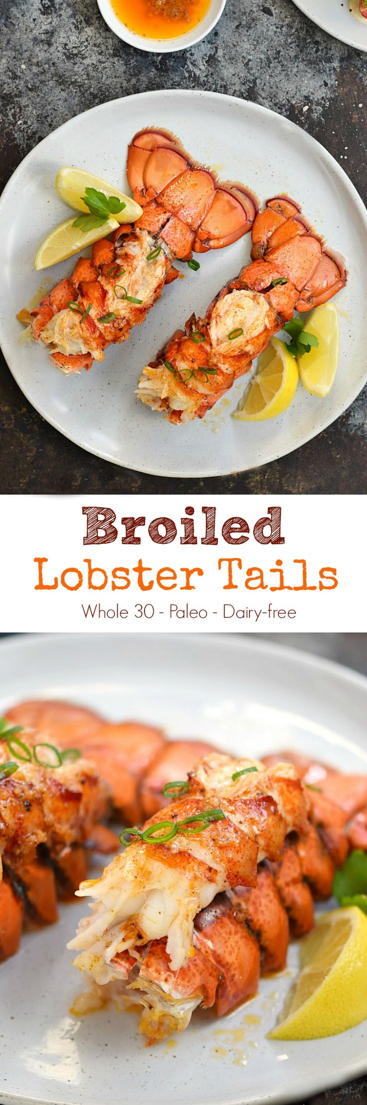 Make date night extra special with Broiled Lobster Tails that are served with garlic butter on the side. They're ready in minutes and truly decadent | cookingwithcurls.com #whole30recipes