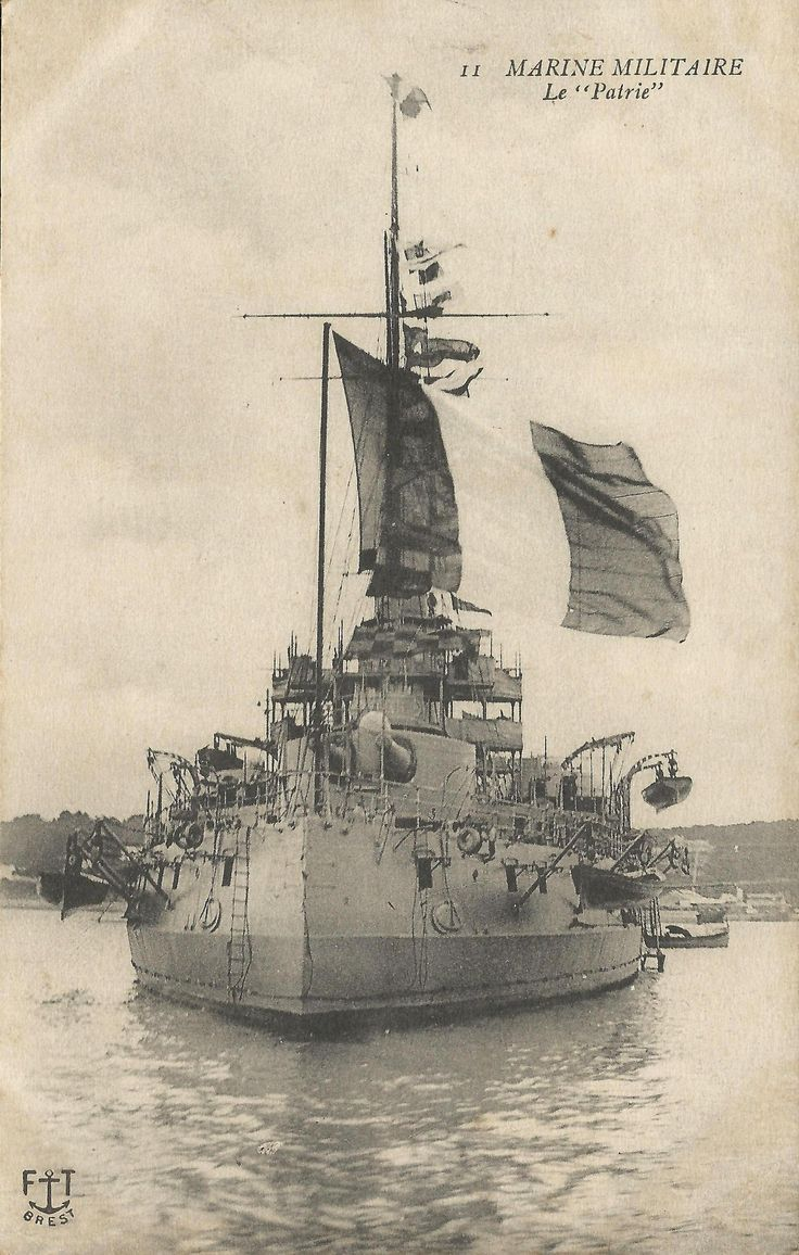 "WW1, ""Le patrie"", a pre-dreadnought battleship of the French Navy built in the early 1900s. At the outbreak of the First World War she was assigned to the 1st Division of the 2nd Division in the Mediterranean. For the majority of the war, the French used their main fleet to keep the Austro-Hungarian fleet bottled up in the Adriatic Sea."