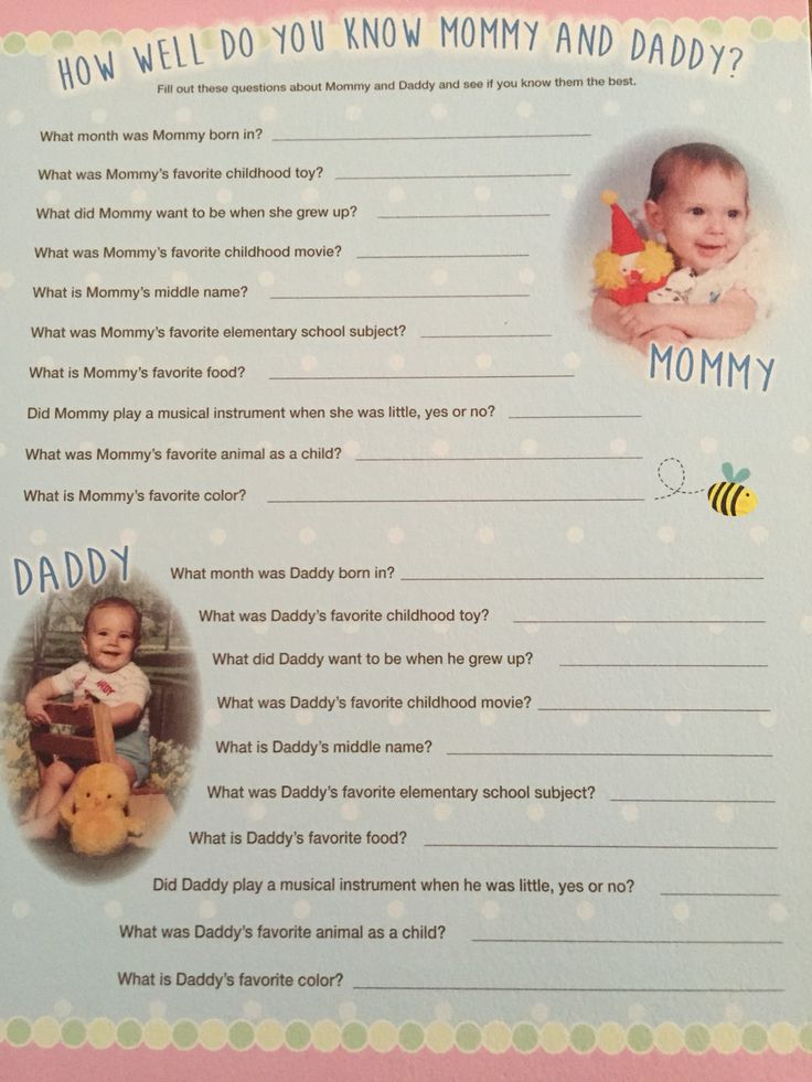 How Well Do You Know Mommy and Daddy baby shower game.  Great game when having a couples baby shower.