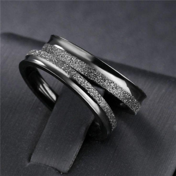 Wedding Black Stainless Steel Rings (6mm, 7mm, 8mm)