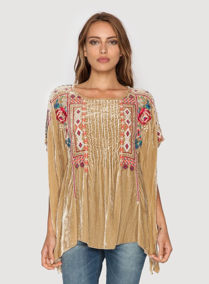 Johnny Was Clothing JWLA embroidered velvet IZZY VELVET PINTUCK PONCHO in Champagne Gold