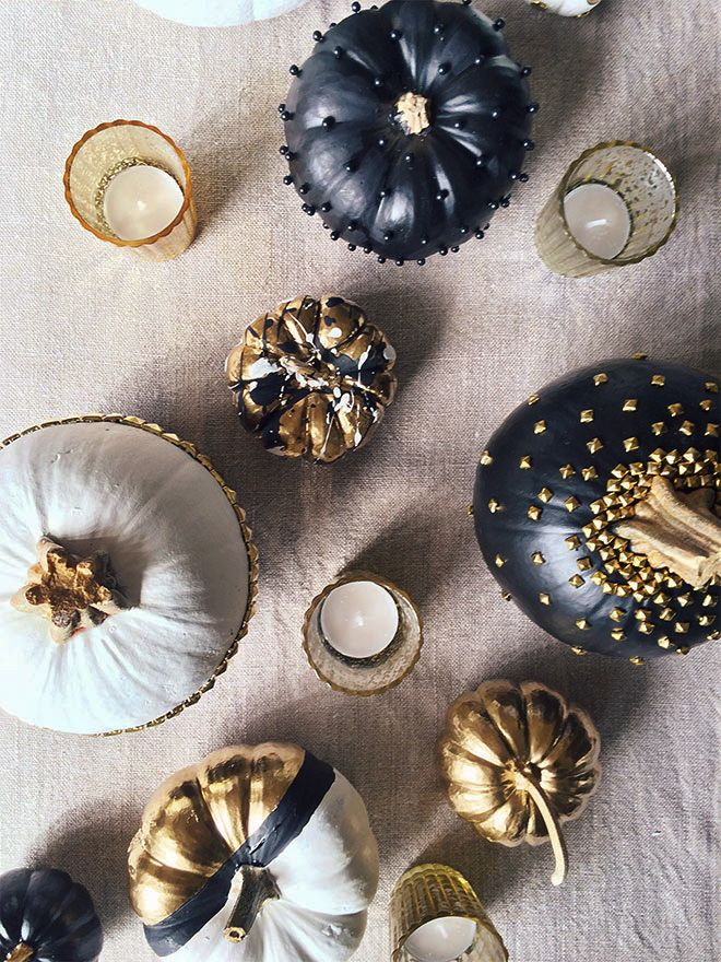 Black and gold pumpkins #halloween #decor