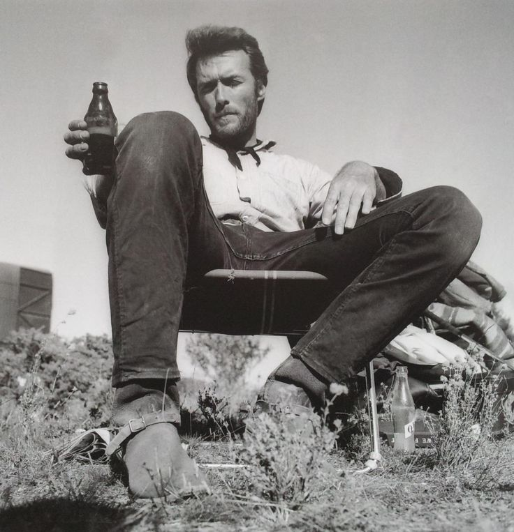 "Clint Eastwood relaxing on the set of ""The Good The Bad and The Ugly"" (1966)"