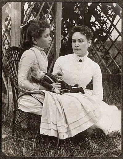 This rare, early photo of Helen Keller and Annie Sullivan was discovered in 2008, by a staff member of the New England Historic Genealogical Society who was going through a large photography collection that was recenty donated. It is the earliest photo of Helen with her teacher and the only known photo of Helen with one of her dolls which were important in her education.