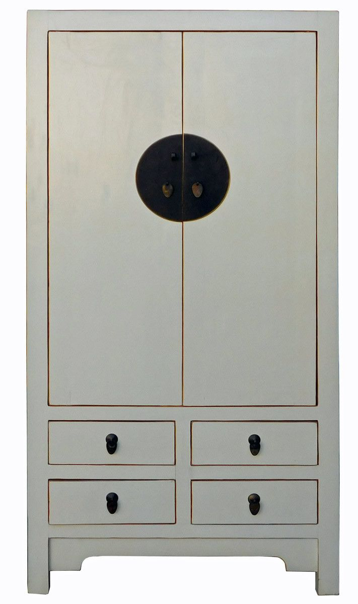 Chinese Cream Off White Tall Armoire Wardrobe TV Cabinet cs2025S