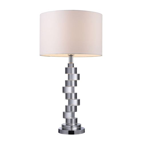 Armagh Table Lamp In Clear Crystal And Chrome With Pure White Faux Silk Shade - D1480