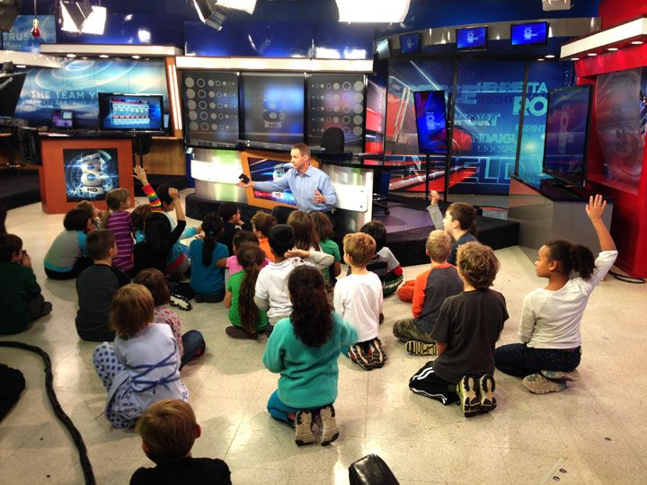 As part of their study on weather, second graders at Harley took a field trip to Channel 8 to meet meteorologist Scott Hetsko and learn about forecasts, extreme weather, and how the weather report is produced on the news.