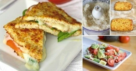 Sándwich de coliflor ::: Para la base de coliflor:  - Una planta de coliflor - Un huevo - Dos cucharadas de queso rallado - Sal y pimienta a gusto Para el sándwich:  - Un tomate cortado en rodajas - Un calabacín en rodajas crudo o grillado - Un aguacate - Una cebolla - Algunos hongos Opcional: queso fresco