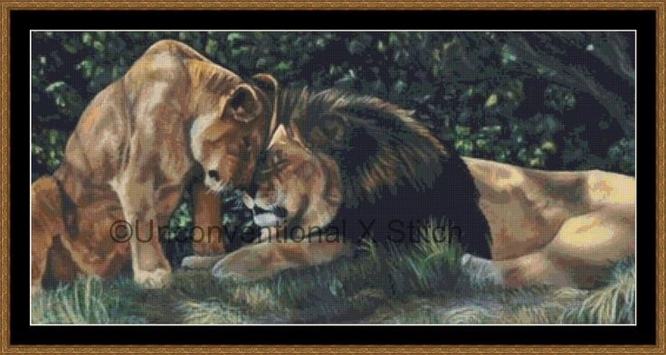 Lion and lioness big cat cross stitch pattern - v2 by UnconventionalX on Etsy