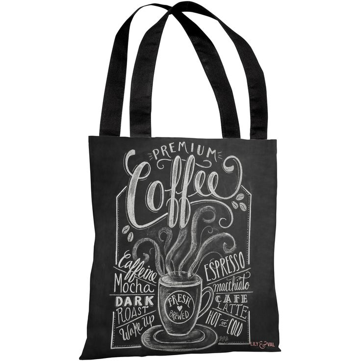 """""""Premium Coffee"""" 18""""x18"""" Tote Bag by Lily & Val"""