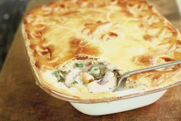 This hearty chicken pie is filled with healthy vegetables and aromatic spices for a complete dinner meal.