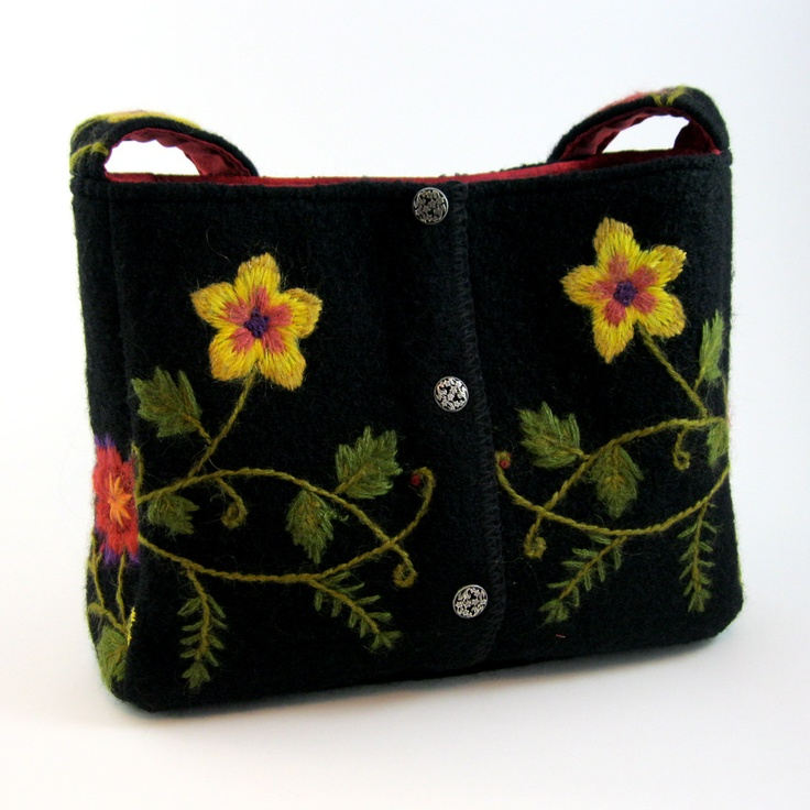 Felted black wool shoulder bag with embroidered flowers (OOAK) from upcycled black boiled wool jacket.. $50.00, via Etsy.