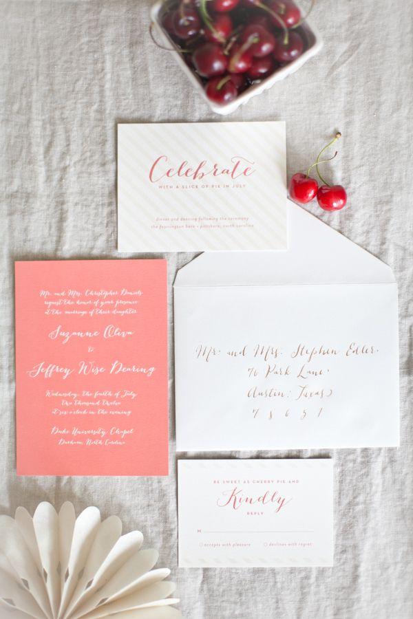 coral wedding invitations