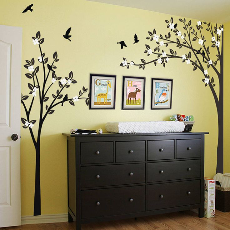 trees with flying birds wall sticker by wall art | notonthehighstreet.com