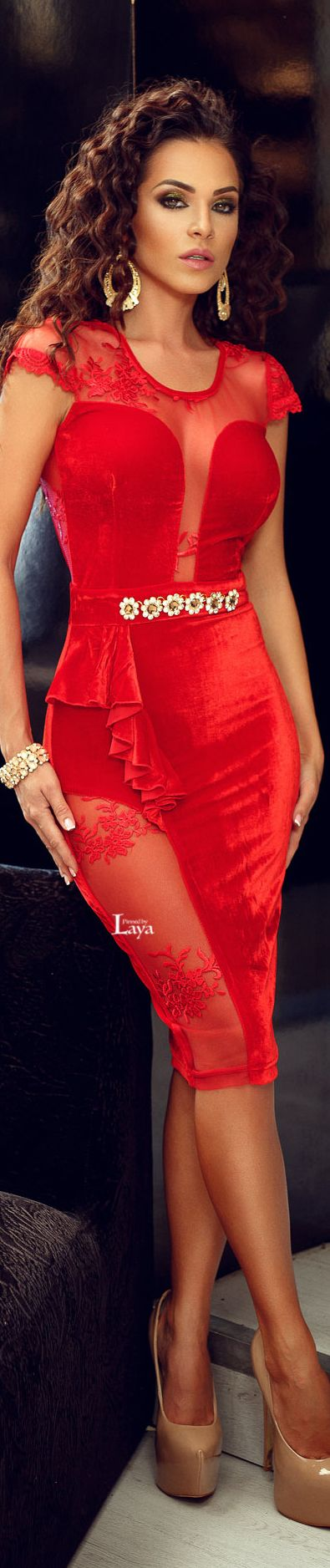 ♔LAYA♔ATMOSPHERE FASHION♔ red dress  women fashion outfit clothing style apparel @roressclothes closet ideas