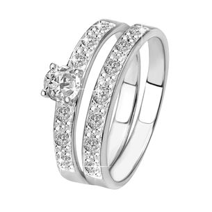 Zilveren dubbele ring met zirkonia - tv