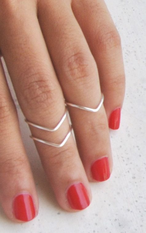 3 Chevron Above Knuckle Rings from Silver Plated Wire, Simple design.