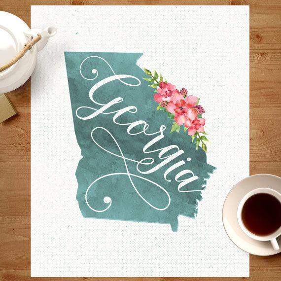 Georgia Watercolor Map Print Printable // Atlanta by Design615