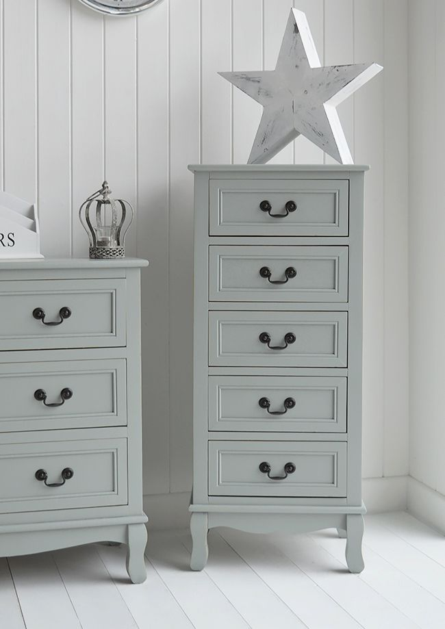 Berkeley Tallboy chest of drawers. Grey painted furniture for your home. Ideas in decorating. Scandi, New England, French and Shabby Chic furniture from The White Cottage