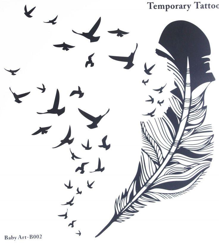 Fake-Tattoos heißer Verkauf modische große Feder und viele Vögel temporäre Tätowierung stcker: Amazon.de: Parfümerie & Kosmetik