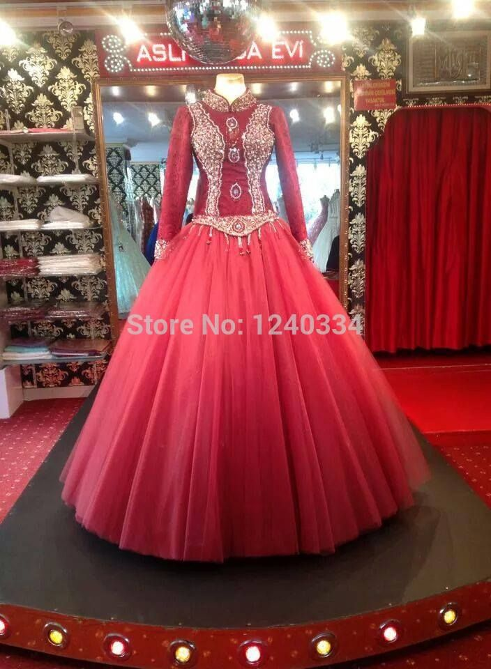 38932 real sample islamic ball gown wedding dress 2015
