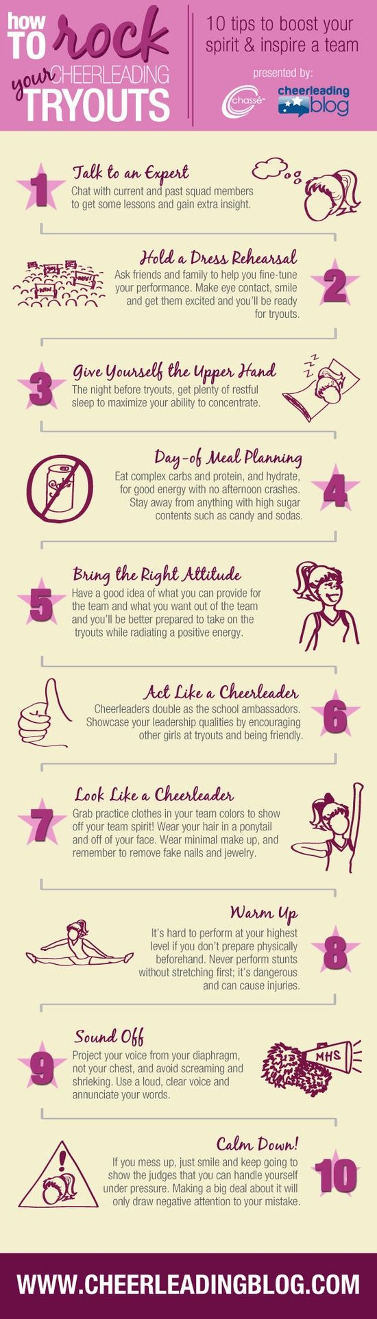 Cheer Infograph: How to Rock Your Cheerleading Tryouts #infographic