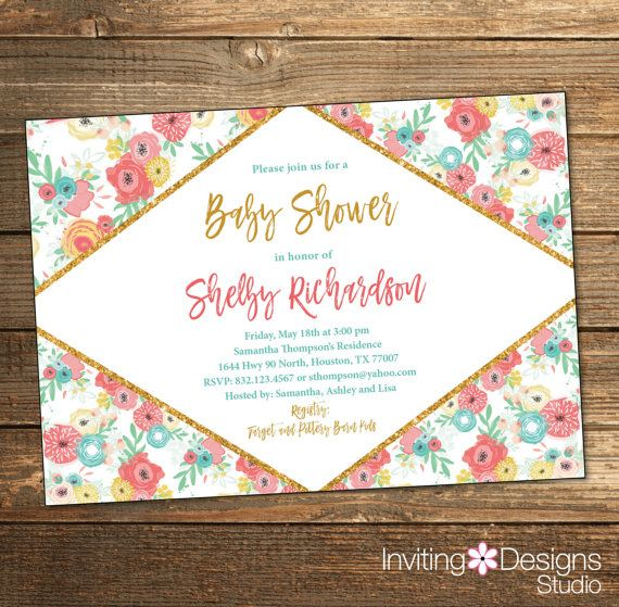 Girl Baby Shower Invitation, Baby Shower Invitations, Spring Baby Shower, Baby Girl, Coral Teal Gold, Spring Flowers, (PRINTABLE FILE)