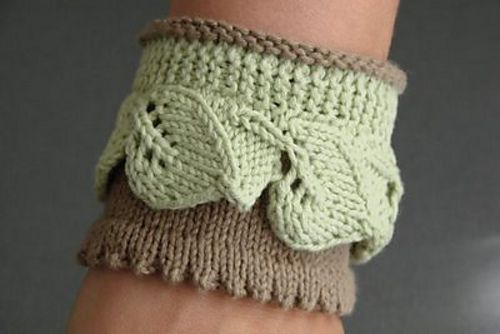 Ravelry Leaf Lace Cotton Cuff Eng Pattern By Monique