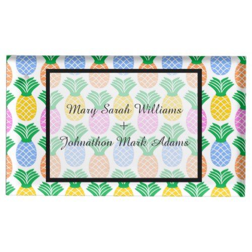 Tropical Pineapple Pattern Wedding Table Number Place Card Holder