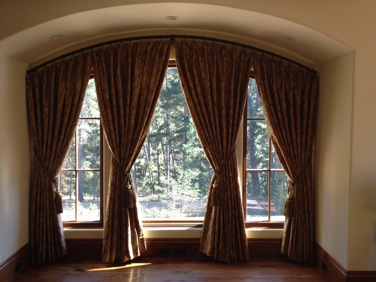 28 best window treatments arched images on pinterest for Arched bay windows