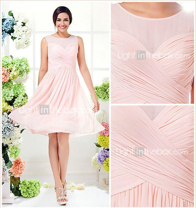 Knee Length Georgette A Line Jewel Dress