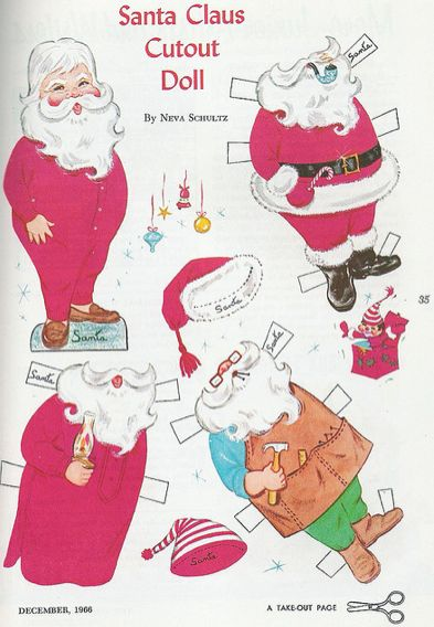 Santa Claus Paper Doll from the The Golden Magazine, December 1966. Via Flickr.
