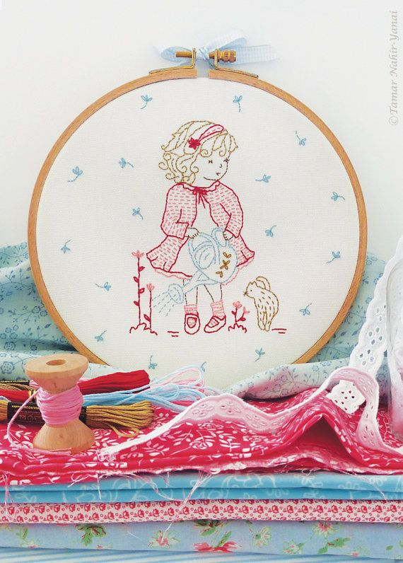 Embroidery Kit, Christmas gifts for mom, Christmas gifts for her - Girl watering flowers - Christmas kid, Christmas baby girl, Christmas kit