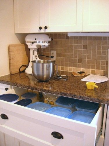 The baking center - don't even have to remove my flour containers now, just scoop! AWESOME!