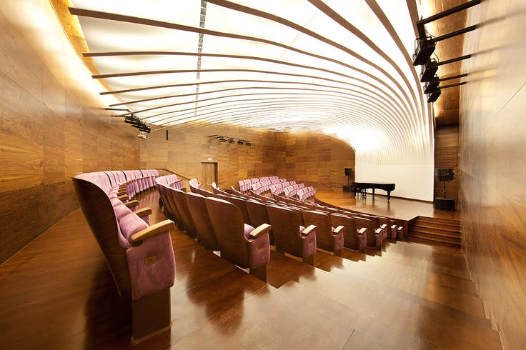 """""""Chopin liked heather, so it had to be heather""""    The Oscar chairs from Forum Seating by Nowy Styl Group in the Carpathian Philharmony in Rzeszów, Poland."""