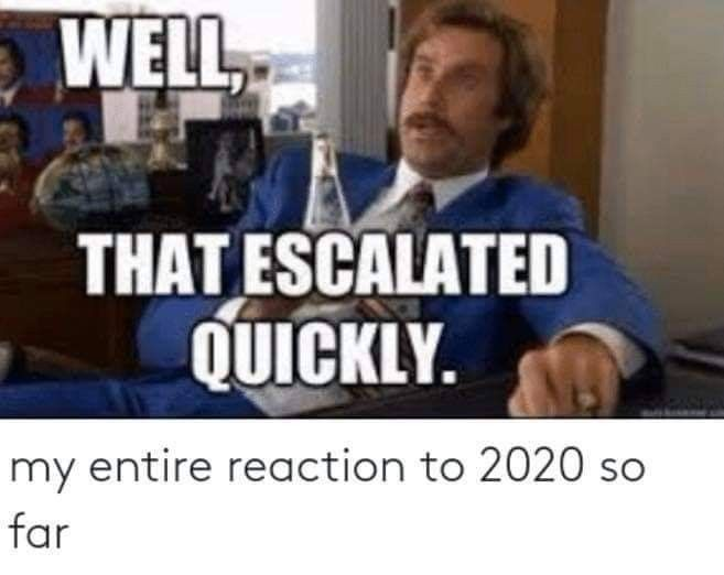 My Entire Reaction To 2020 So Far Well That Escalated Quickly Really Funny Funny Relatable Memes Stupid Funny
