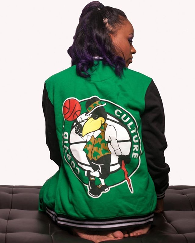 """Corvid Culture"" College Jacket Available at www.crmcclothing.co | WE SHIP WORLDWIDE Model - Evie Cherrie Photo - Seven15 Photography  #vixen #green #collegejacket #alternative #nba #fashionstatement #bostonceltics #comfy #fashionista #cosy #greenjacket #alternativeblackgirl #blackmodel #blackgirlsrock #beautifulblackwomen #cute #beautiful #dailyfashion #styles #style #alternativegirl #alternativeteen #alternativeboy #fashionblog #fashionblogger #love"