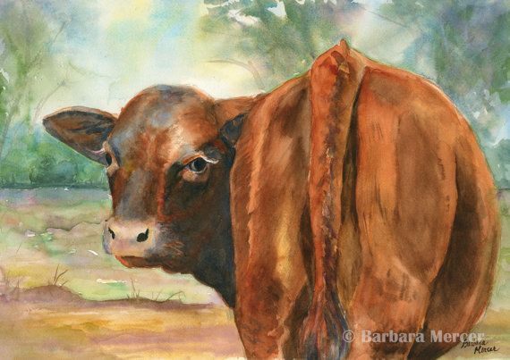 "Impressionistic Cow Giclée Print from Original  by Barbara Mercer - $45, 14"" x 18"""