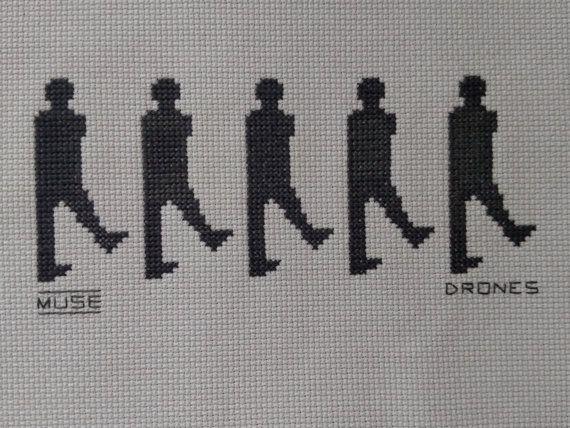 Counted Cross Stitch Chart Muse the Band Drones Figures PDF Version Immediate Download Matt Bellamy Chris Wolstenholme Dom Howard