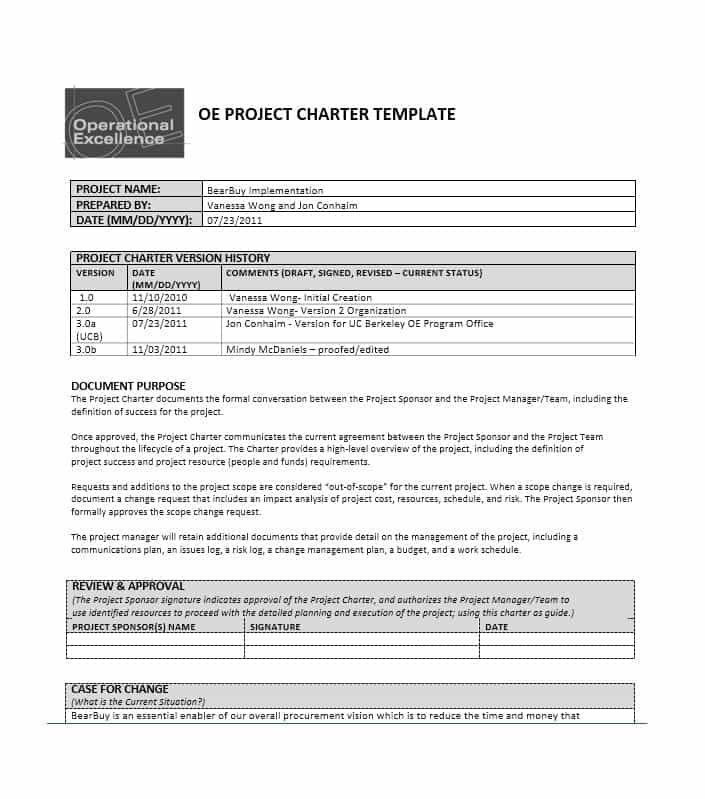 Project Charter Template Project Charter Lesson Plan Template
