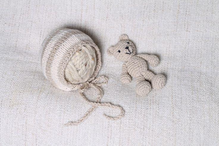 Rainbowbabyprops — Teddy bear and newborn bonnet set - Ready to ship