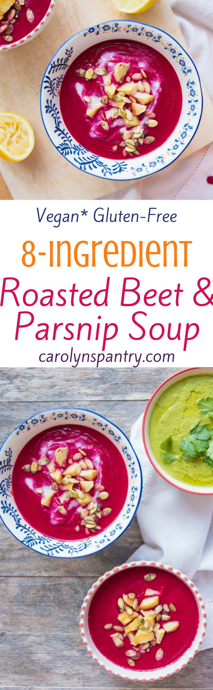 Are you in the mood to make something beautiful and delicious in under 30 minutes and with just 9 ingredients tonight? Heck yes you are! As if the simplicity of this scrumptious Roasted Beet & Parsnip Soup wasn't enough to convince you it's worthy of your kitchen, its health benefits will absolutely do the trick. This soup of the gods is 100% plant-based and gluten-free and comes packed with nutrients from the beets and parsnips that form its base.