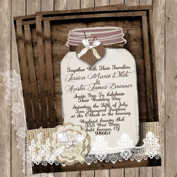 Burlap and Lace, Mason Jar, Wedding Invitation, Rustic Wood, Twine, Printable, Digital File, Personalized, 5x7, on Etsy, $15.00