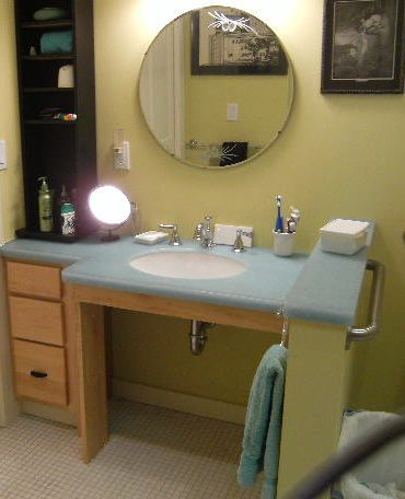 Handicapped sink vanity no reason wheelchair accessible should be hospital decor this website for Wheelchair accessible sink bathroom