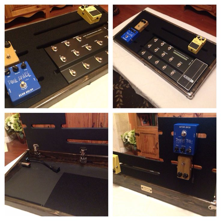 """Custom 16""""x32"""" pedalboard with IEC power connection, (2) 1/4"""" locking jacks, hinged top with locking hinges and large cutout for digital controller."""