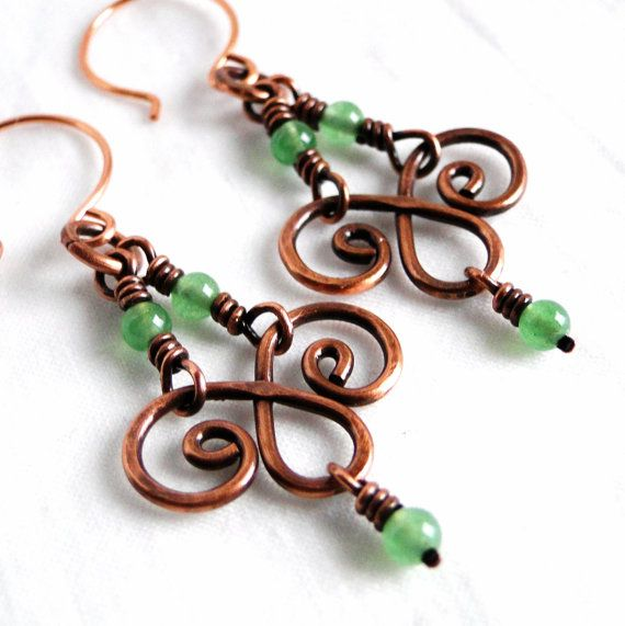 Chandelier Earrings, Handcrafted Jewelry, Green Aventurine Stone Beads, Antiqued Copper Earrings